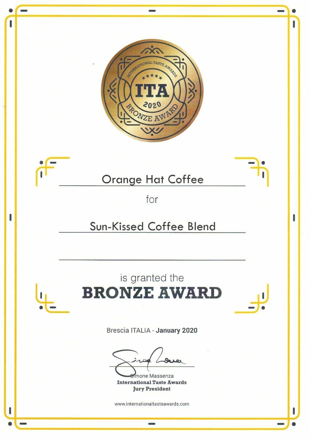 Orange Hat Coffee - International Taste Awards 2020 abalvošanas pasākumā! 10