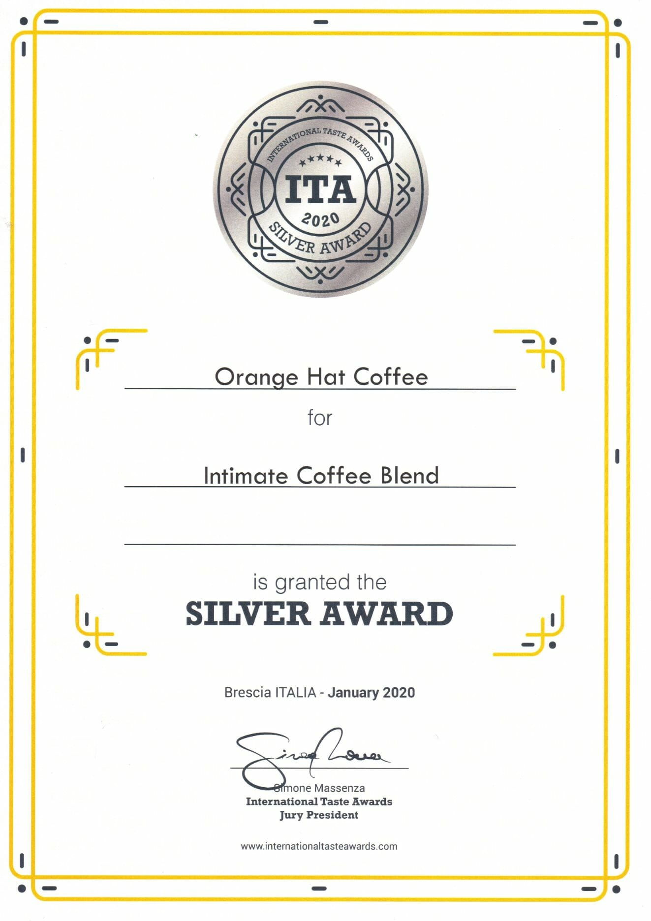 Orange Hat Coffee - International Taste Awards 2020 abalvošanas pasākumā! 8